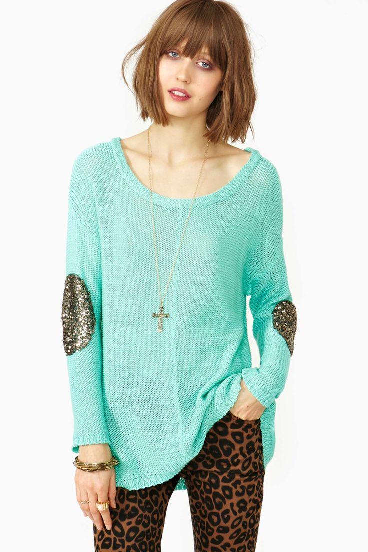Sequin Patch Knit Mint