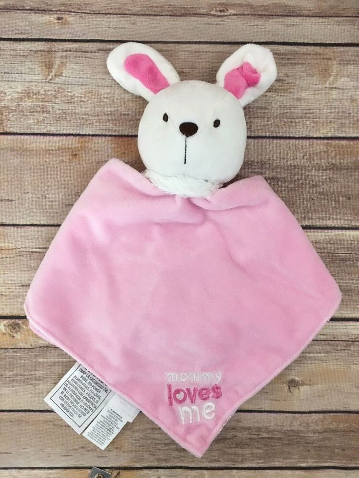 Child Of Mine Carters Pink Bunny Rabbit Lovey Blankie Mommy Loves Me  | eBay