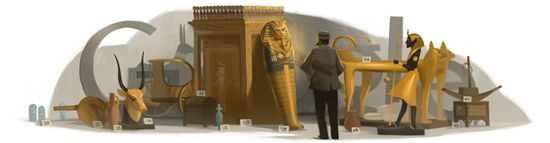 Google doodle celebrating the discovery of King Tuts tomb by Howard Carter.  Egyptology is my favorite science so I was excited to see this, this morning.
