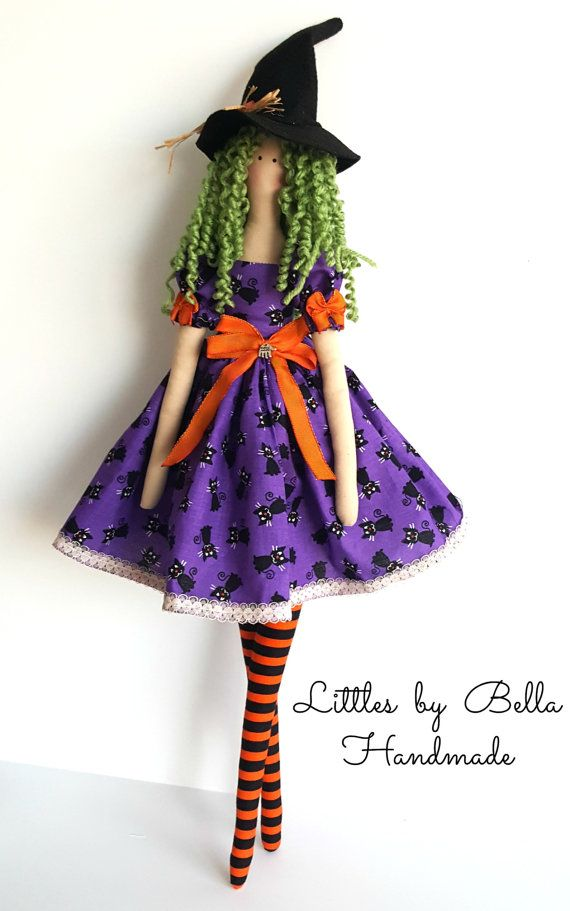 Witch cloth doll Textile doll handmade doll by littlesbyBella