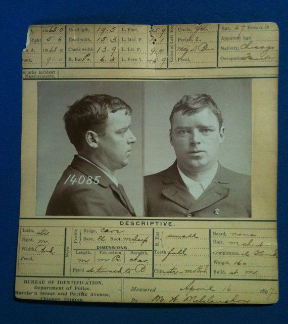 vintage Chicago Police Department robbery & burglary 1897  criminal wanted  arrest   booking card John Patrick Murphy