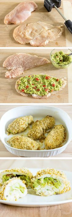 Guacamole stuffed chicken breasts are thin pieces of chicken smothered in guacamole; rolled up; coated in flavorful Panko breadcrumbs; and baked.