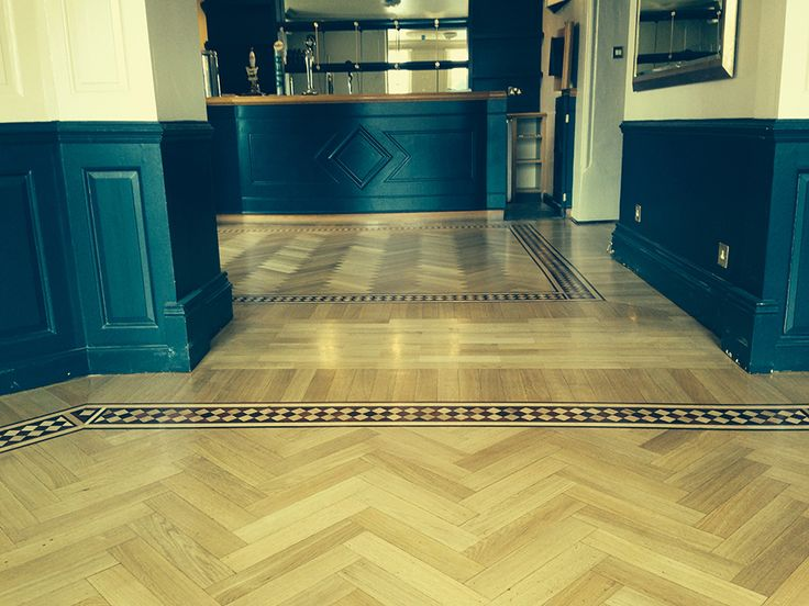 Parquet floor sanded and lacquered.