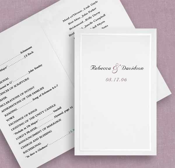 our white pearl program paper will be the perfect finishing touch to your big day