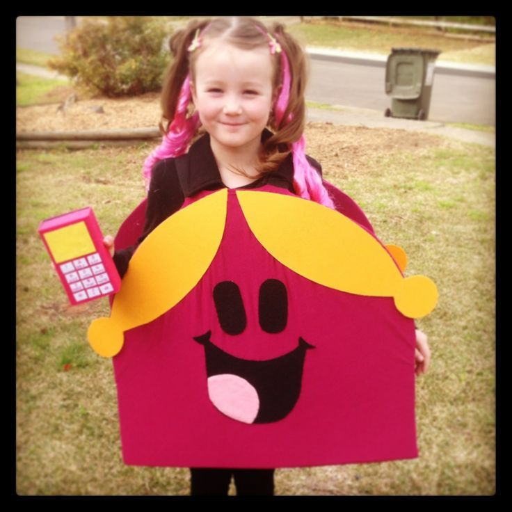 Little Miss Chatterbox costume made by me! Mobile phone was a box containing bookmarks to give out. Made for book week.