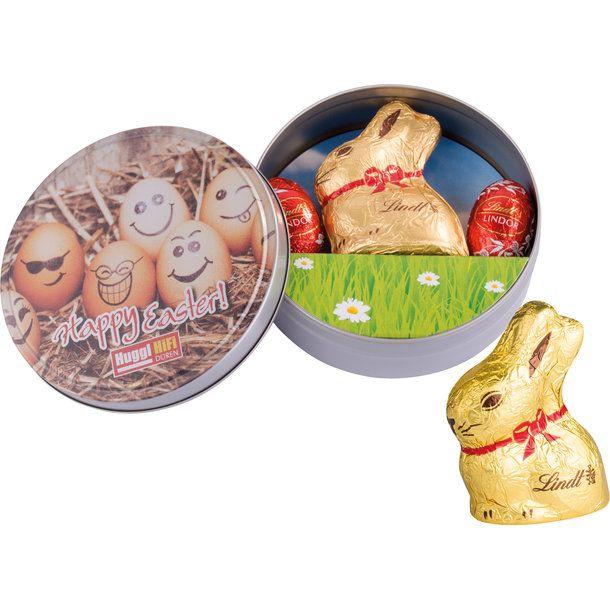 Ein Lindt Osterhase Aus Feiner Alpenmilchschokolade 10g Und 2 Lindor Mini Ostereier Aus Vollmilchschokolade A 5 Lindt Osterhase Werbegeschenke Kundengeschenke
