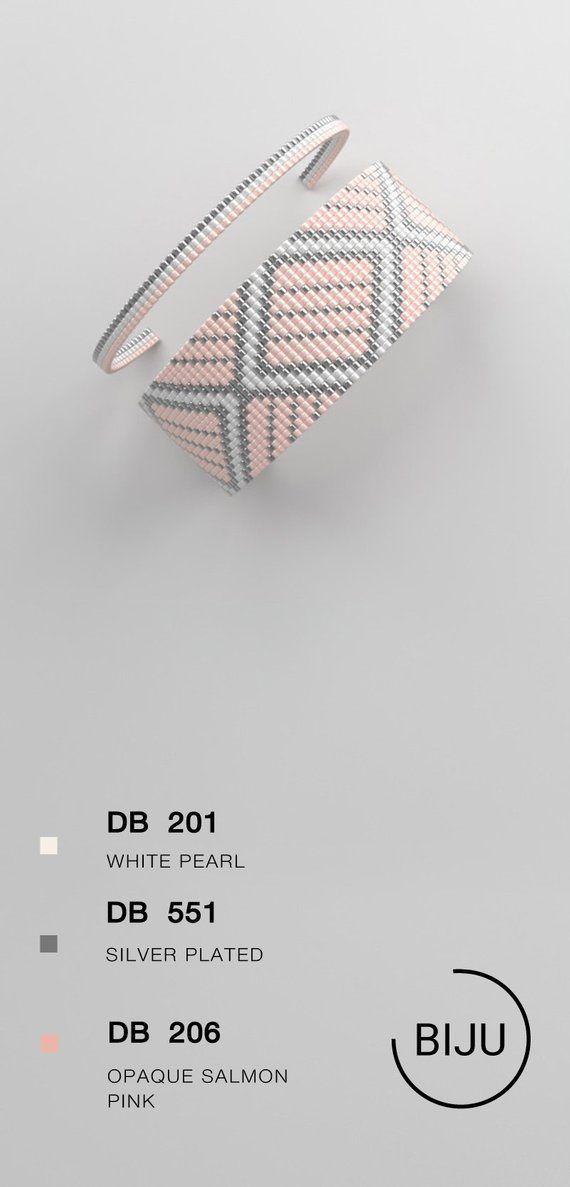 Loom bracelet pattern, loom pattern, miyuki pattern, square stitch pattern, pdf file, pdf pattern, cuff #39BIJU