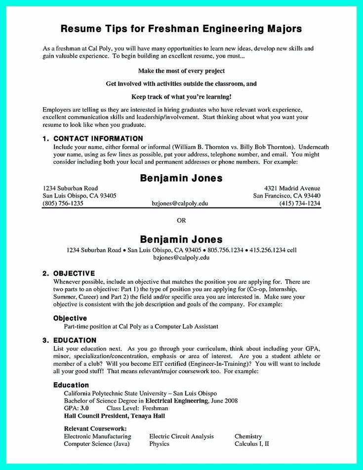 College freshman resume template elegant pin on resume