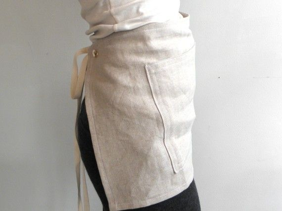 CAFE APRON  linen natural by smallbatchproduction on Etsy, $60.00