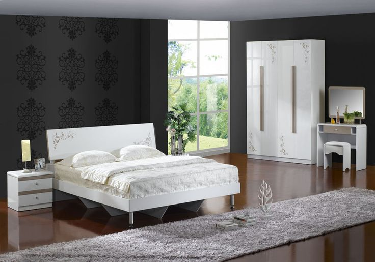 Special Characteristic in Modern House Decor: Ecletic Modern House Decor For Bedroom Ideas For Couple Using Big Beds White Bed Frames Also Modern Bed Side Table With Contemporary Planters Also Cheap Laminate Wood Floor Elegant White Wardrobe ~ surrealcoding.com Interior Inspiration