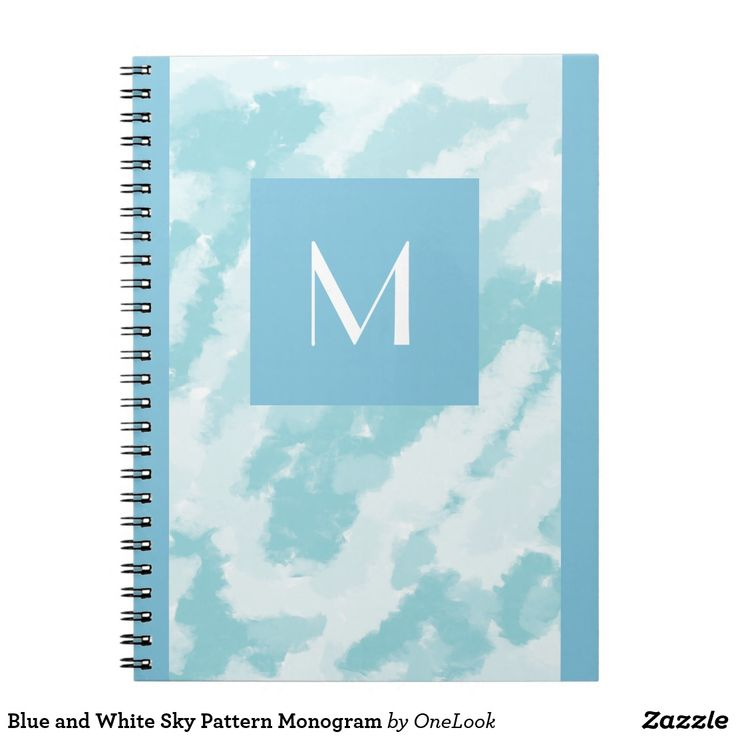 Blue and White Sky Pattern Monogram