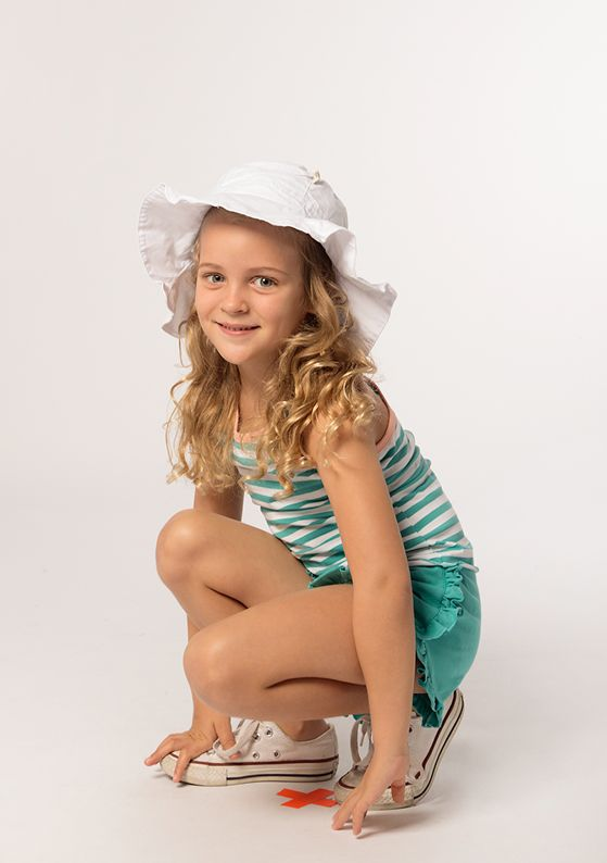 Hat - Belle: Pure White Top - Racer: Cactus + Pure White Short - Frill: Cactus