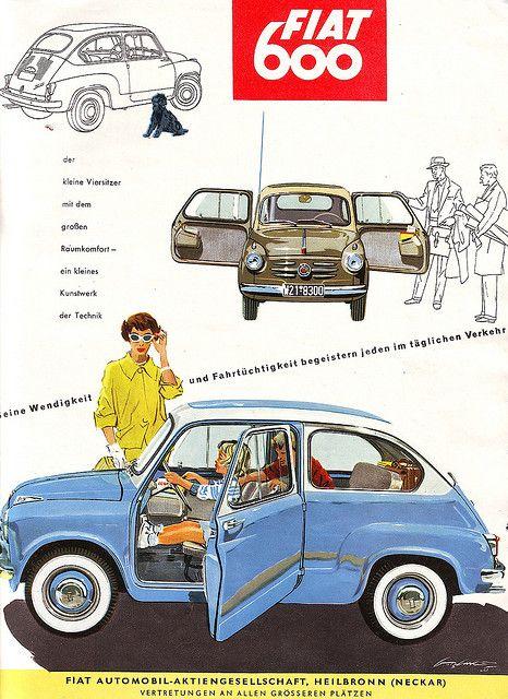 """Fiat 600 (""""Seicento"""") Magazine Ad / Zeitungsanzeige, AMS 1955   by Georg Sander"""