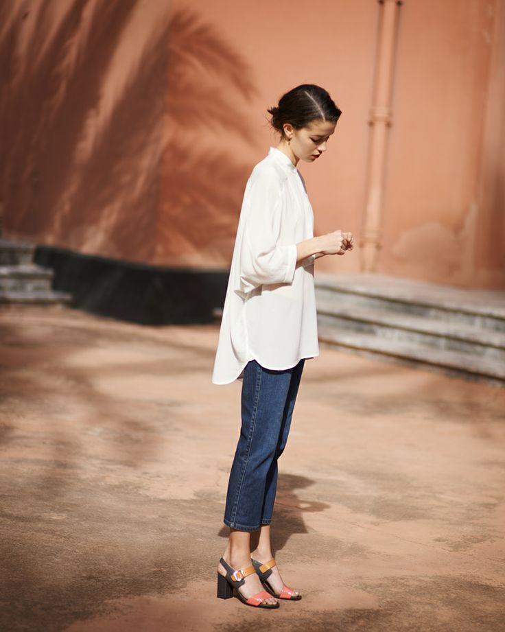 cropped pants + heels +blouse