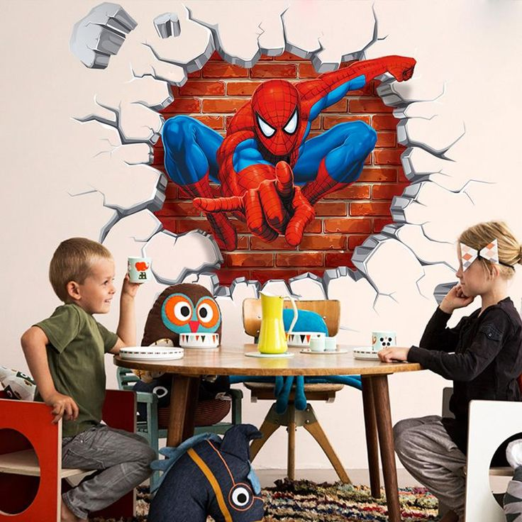 Creative Home Decor   3d Cartoon Spiderman wall stickers for kids rooms home decor Kids Nursery Wall Decals Home decoration Boy room gift Wallpaper