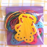 Lacing provides a great opportunity for fine motor skills and makes for a wonderful busy bag. I recently saw a pack in the toy store in the city and thought my 4 year old would love to give that a try.