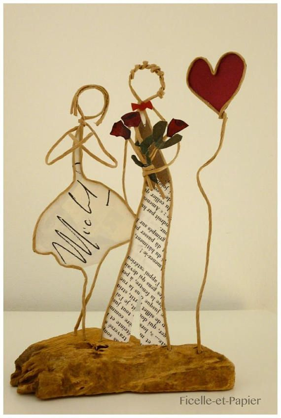 Gift requires marriage, ceremony, young gift decoration Driftwood engaged, string figurines sculpture armed kraft paper