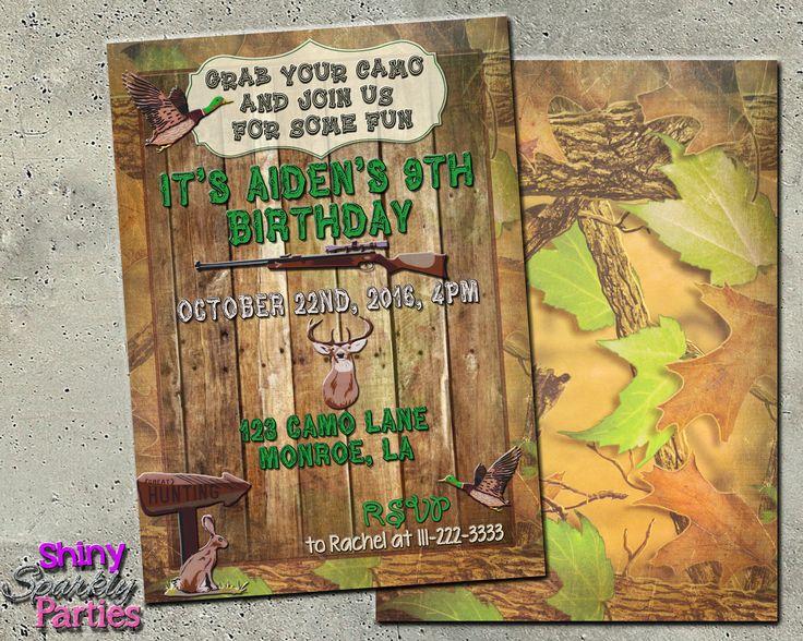 Printable Camo Hunting Birthday Invitation Digital File