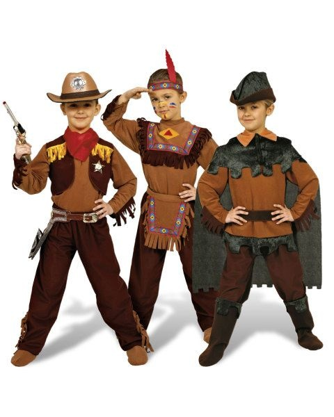Kid's 3 in 1 Dress Up Set – Cowboy, Indian, Robin Hood - Indians Party Costumes