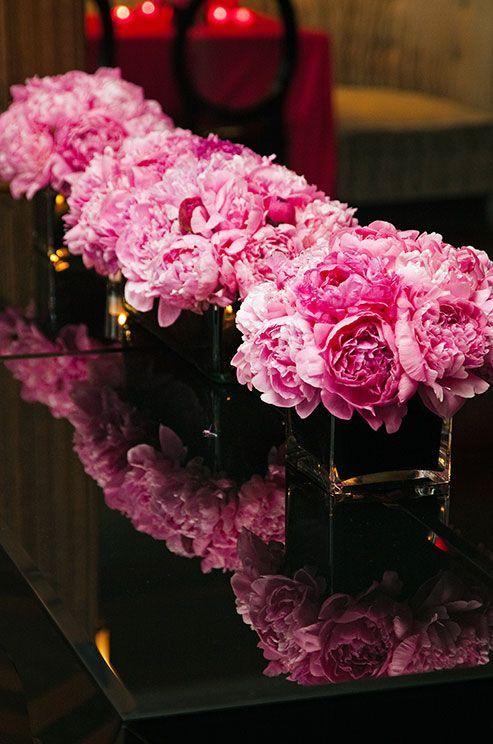 Pink peonies wedding reception centerpieces