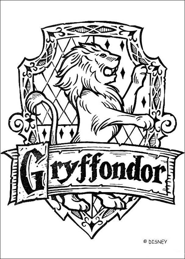 Coloriage Harry Potter : Le blason de Gryffondor                              …