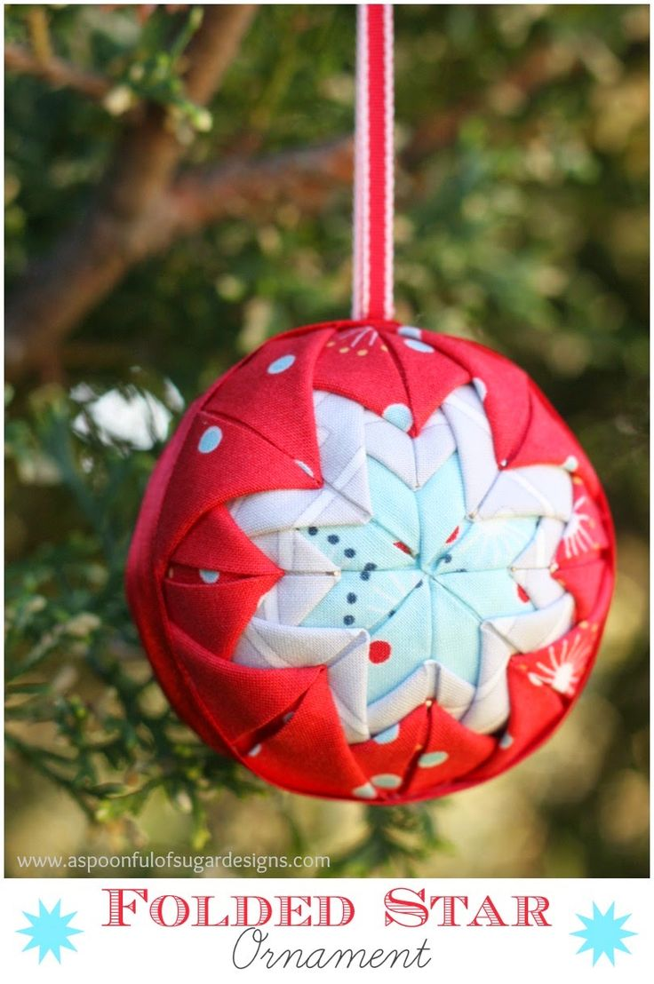 Folded fabric christmas ornaments patterns - Try These Holiday Folded Star Ornaments For An Easy Ornament Idea These Ornaments Are No Sew All You Need To Do Is Fold And Press The Fabric