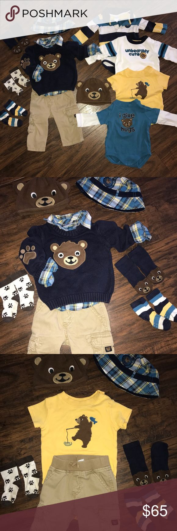 Gymboree Lot boy 6-12 Bear Hugs infant Gymboree Bear Hugs line: 12 pieces  Included: ⭐️Bear sweater: VGUC  ⭐️Plaid shirt button down: VGUC  ⭐️Cargo pants: GUC  ⭐️Bear socks: New without tags ⭐️Paw socks: non Gymboree but match. GUC  ⭐️Stripe socks: GUC  ⭐️Rugby Stripe collared bodysuit GUC  ⭐️White bodysuit: GUC  ⭐️Yellow body suit: VGUC  ⭐️Teal body suit: GUC  ⭐️Bear sweater hat and Plaid hat: EUC GUC=normal wear VGUC=minimal wear  Find me on Facebook!!  Join my group and take 5% off…