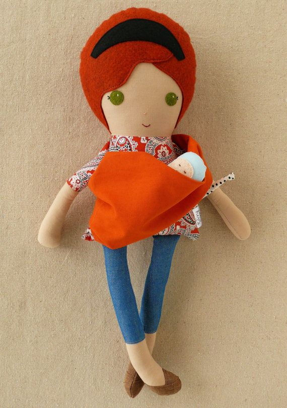 I'd like this for my own birthday. Fabric Doll Rag Doll Mother and Baby by rovingovine on Etsy, $40.00