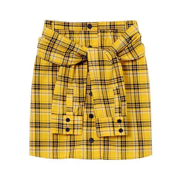 TARTAN CHECK SHIRT SKIRT ❤ liked on Polyvore featuring skirts, yellow skirt, puffy skirts, puff skirt, tartan skirt and tartan plaid skirt