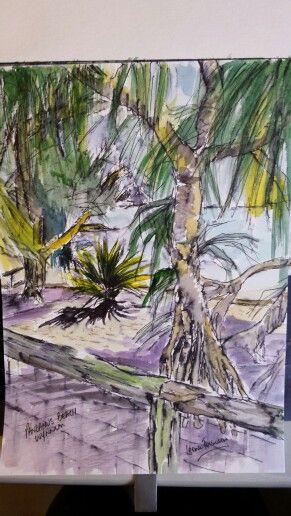 A quick pen & watercolour 14x21cm of Pandanus Beach, Wynnum