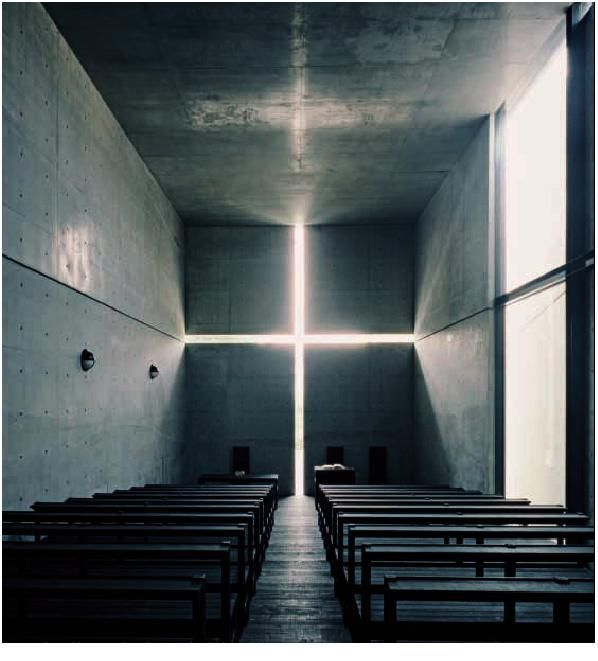"""TADAO ANDO, CHURCH OF THE LIGHT: """"considerable care is taken to see that the walls are as perfect as technique will allow. these walls are thick, solid, massive, and permanent . the main reinforced concrete shell of the church of the light is 15 inches thick."""""""