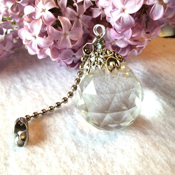 Crystal light pull ceiling fan pull or sun by JessicasJewles