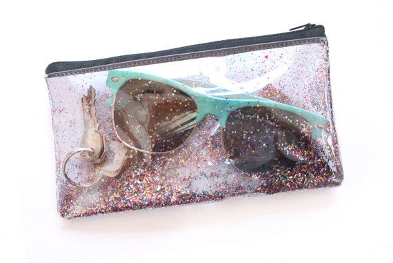 Glitter party / Small pouch Transparent handbag Clear by RossMiu