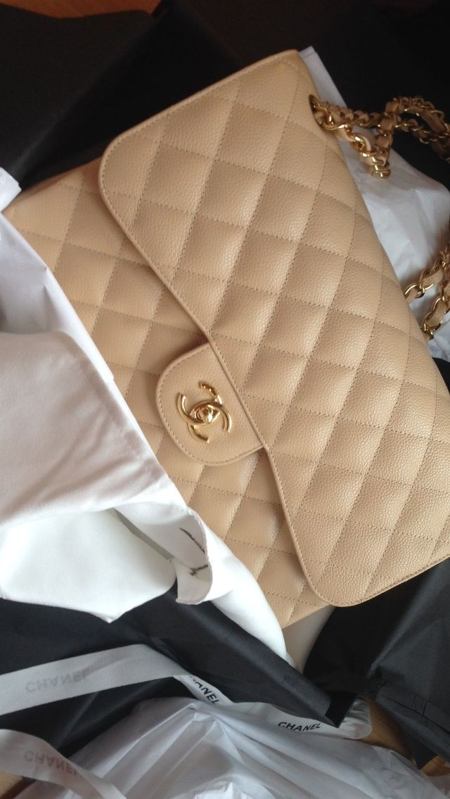 Chanel Jumbo in beige caviar leather with gold hardware