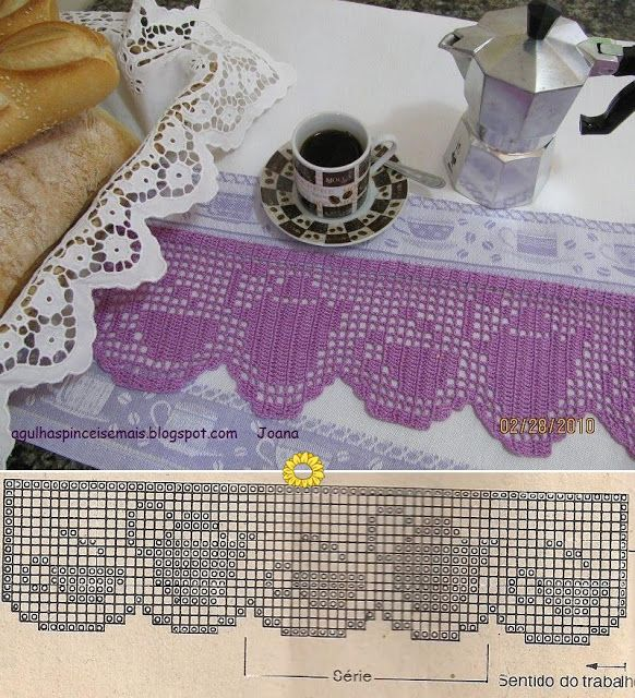 Agulhas e Pinceis: Pano para o cafezinho barrado crochê filê - filet crochet