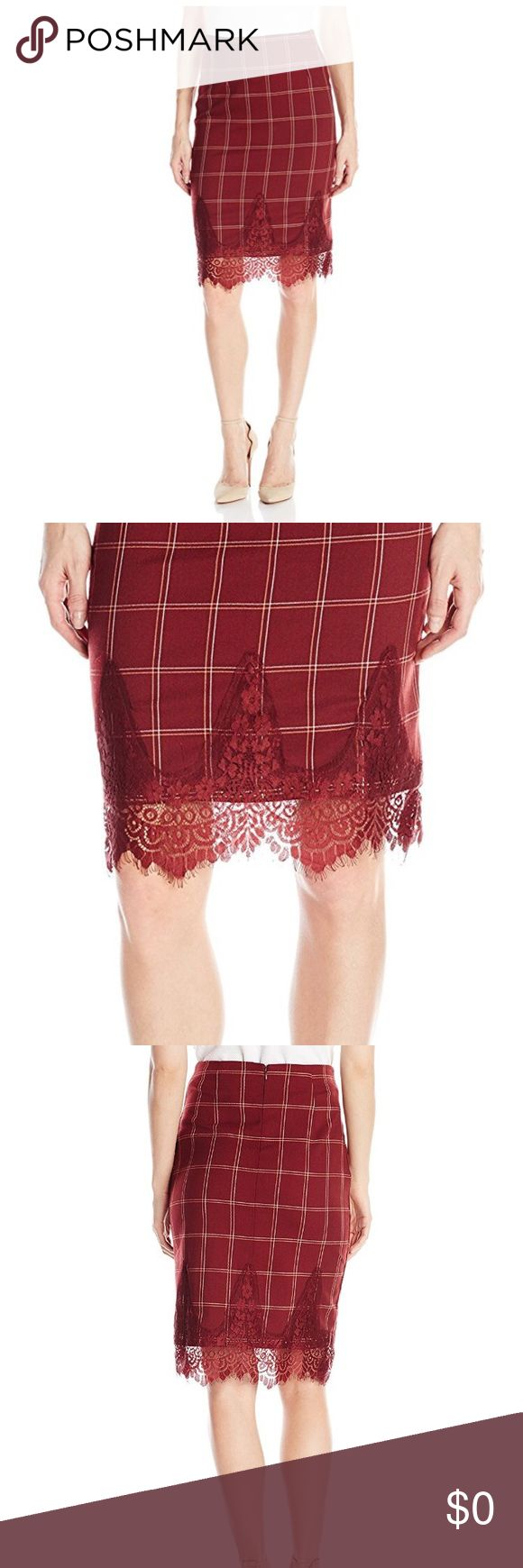 NWT Burgundy Lace Grid Mid-Length Skirt NWT Burgundy Lace Grid Mid-Length Skirt  100% Cotton Dry Clean Woven  Make Offer No Trades Blu Pepper Skirts Midi