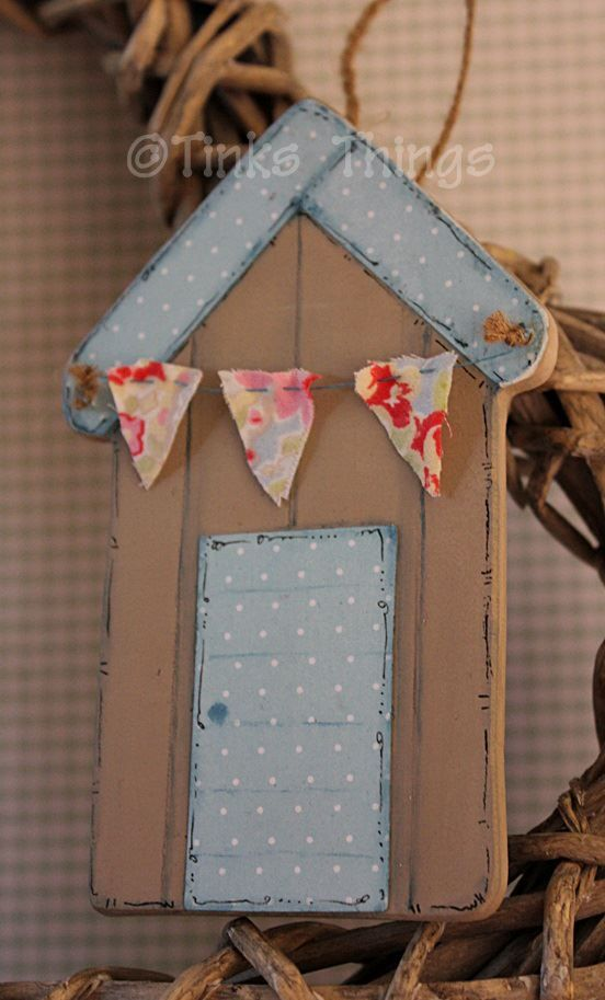 Gorgeous beach hut, hand painted, papered, Cath Kidston Bunting