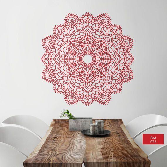 Mandala lace wall decal Mandala vinyl decal Mandala wall art Yoga studio Bedroom flower decor Boho indian design Mandala sticker lace #026