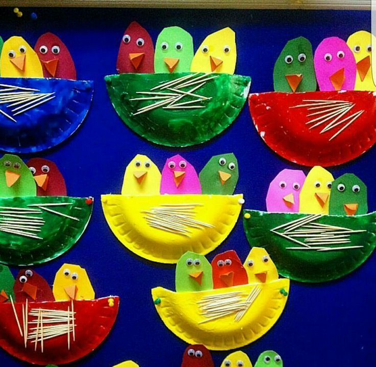 Birds or chicks in a paper plate nest craft