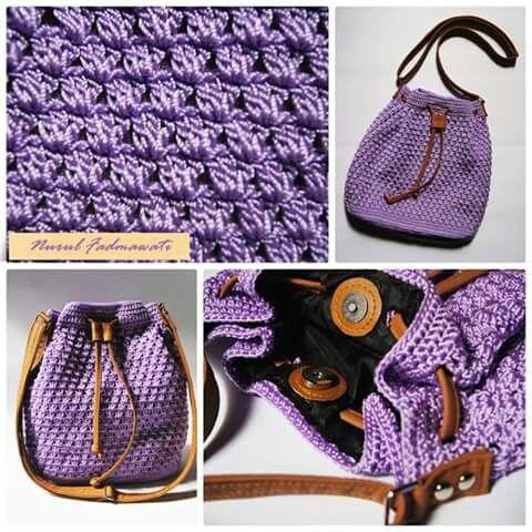 Crochet drawstring bag