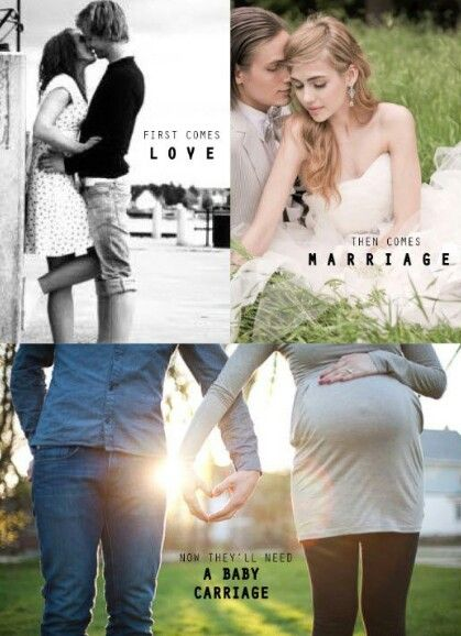 Such a cute baby announcement! First comes love, then comes marriage, then comes a baby in the baby carriage!