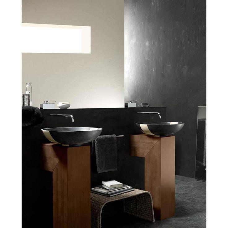 Black Stone Sink With Beige Line   Sinks
