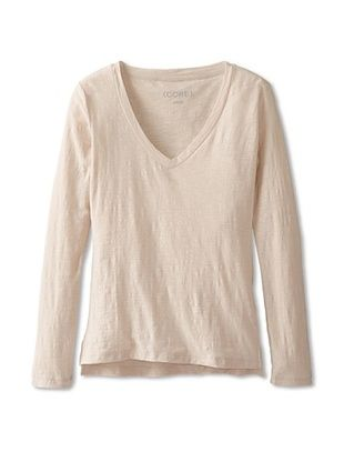 66% OFF CORE Women's V-Neck Long Sleeve Tee (Beige/Pink)