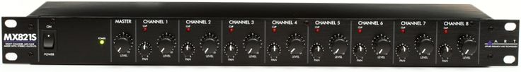 8-channel Mic/Line Mixer with Individual Volume, Pan, and Phantom Power Controls, and Stereo Output