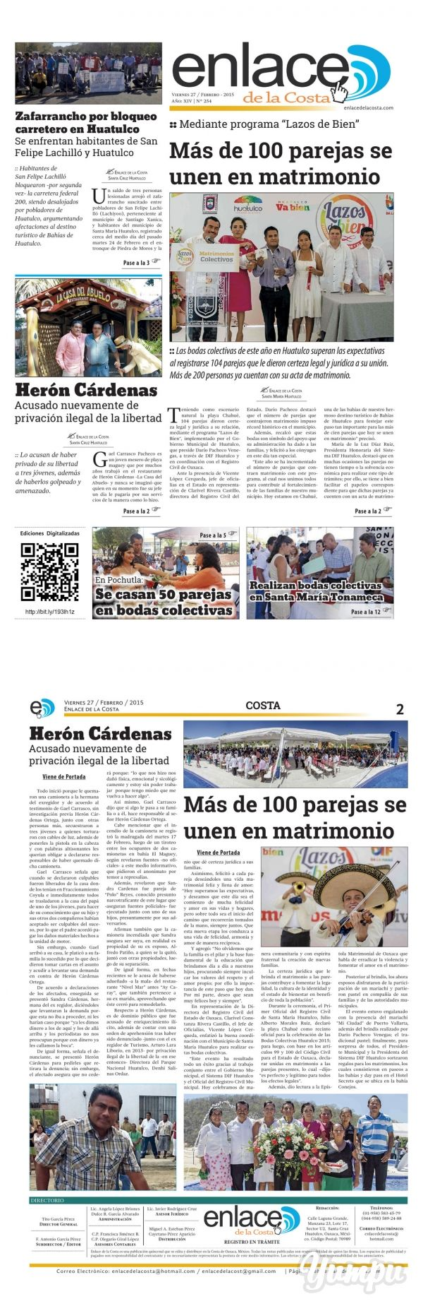 Edición 254; Enlace de la Costa - Magazine with 12 pages: Edición número 254 del periódico Enlace de la Costa, editado y distribuido en la Costa de Oaxaca, con información de la región y sus municipios.