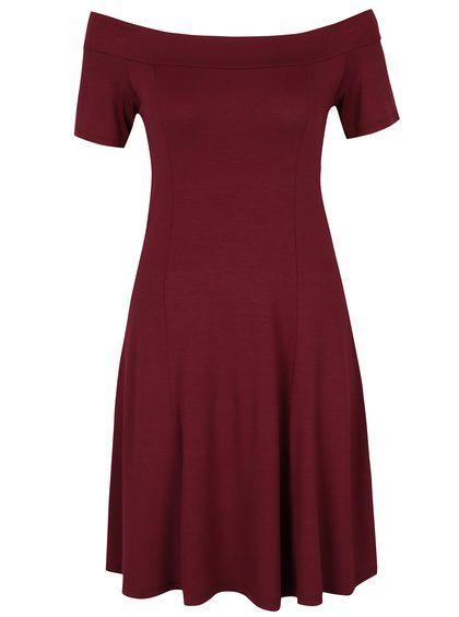 Vínové šaty s lodičkovým výstrihom ZOOT