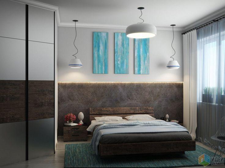 Интерьер спальни, голубые акценты в интерьере спальни