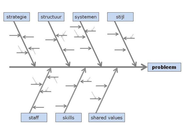 7S-model in Ishikawa-diagram; het model leent zich goed om een interne analyse te maken van een bedrijf. Met goede vragen per aspect kan de huidige situatie beschreven worden.
