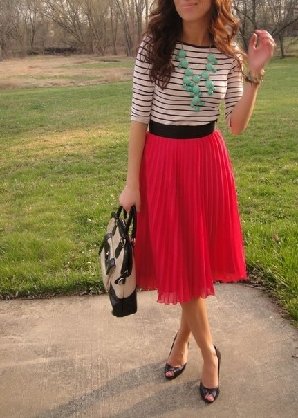 : Midi Skirts, Colors Combos, Style, Cute Outfits, Stripes Shirts, Bright Colors, Pleated Skirts, Chunky Necklaces, Red Skirts