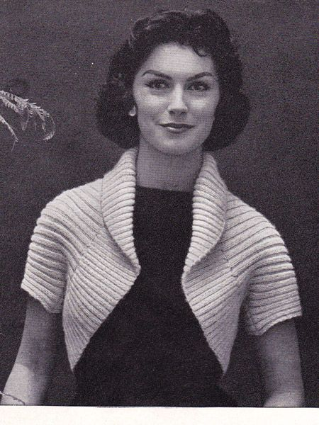Free knitting pattern for 50s Ribbed Shrug - easy shrug with just five steps in pattern